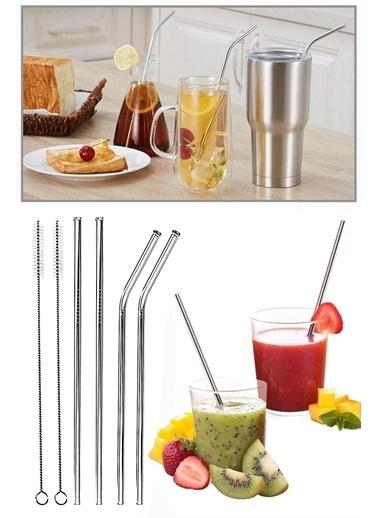 Kitchen Love 4 lü Paslanmaz Çelik Pipet + 2adet Temizleme Fırça Renksiz
